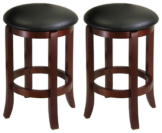 Winsome Wood Transitional Antique Walnut Solid Wood Bar Stools Set of 2