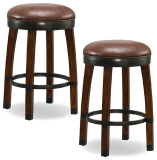 Sienna Wood Cask Stave Counter Height Stool Sable Faux Leather Seat Set of 2