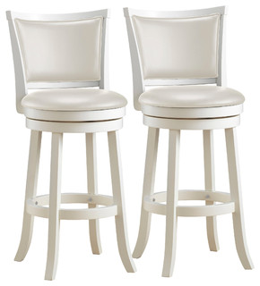 Louise White Wooden Bar Stools Set of 2