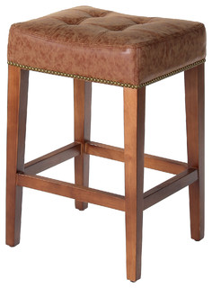 Nashville 26 quot Low Counter Stool Vintage Brown Leather
