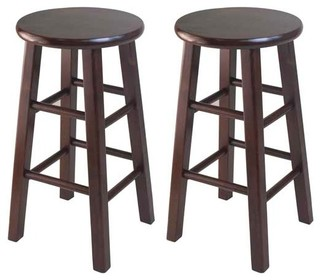 Pacey 2 Pc 24 Bar Stool Set Antique Walnut