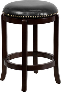 High Backless Cappuccino Wood Counter Height Stool 24
