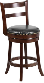 26H Cappuccino Wood Counter Height Stool With Black Leather Swivel Seat