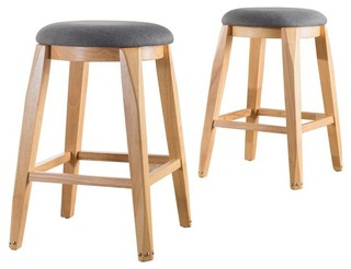 Evelyn Studded Leg Fabric Barstools Set of 2 Charcoal