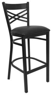 Flash Furniture Hercules Series Black x27 x27 X x27 x27 Back Metal Restaurant Bar Stool