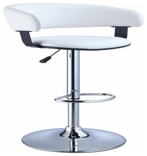 Faux Leather Barrel and Chrome Adjustable Bar Stool White