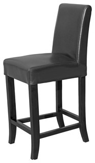 Leather Counter Stool 26 Seat Height Black