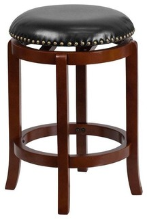 Empire Leather Swivel Bar Stool Black and Cherry