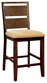 Dwayne Counter Height Chairs Microfiber Seat Dark Oak Set of 2