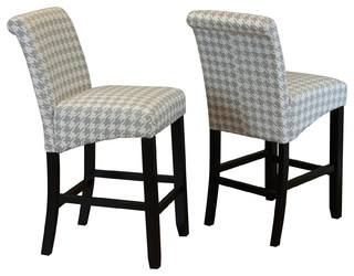 Milan Houndstooth Linen Counter Chairs Set Of 2 Harbor Gray