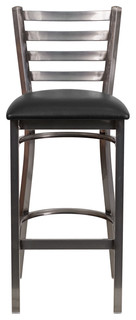 Hercules Series Clear Coated Ladder Back Metal Barstool Black Clear