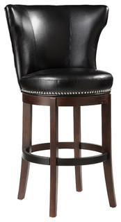Tavern Swivel Barstool Black Leather