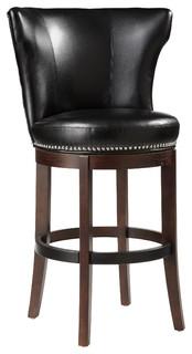 Tavern Swivel Barstool Black Leather