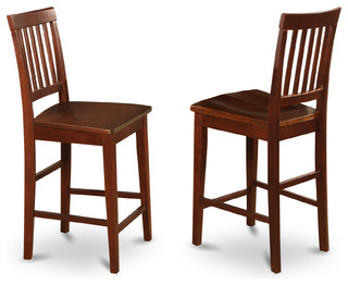 Vernon Counter Stools With Wood Seat Mahogany Finish Set of 2