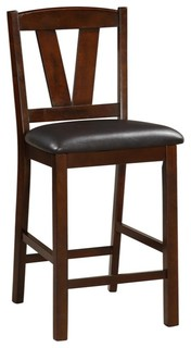 Rubber Wood Counter Height Armless Chair Dark Walnut Brown Set of 2