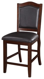Wooden Armless High Chair Espresso Brown amp Black Set of 2