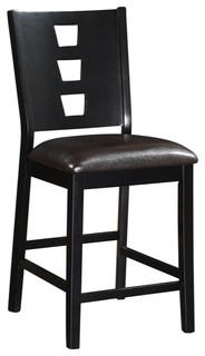 Wood amp Leather High Chair Dark Brown Set of 2