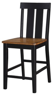 Rubber Wood High Chair Black amp Brown Set of 2