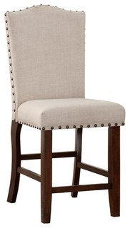 Rubber Wood High Chair With Studded Trim Cream amp Cherry Brown Set of 2