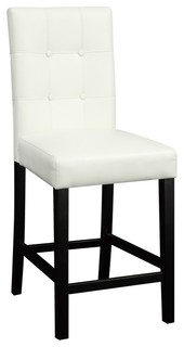 Wood amp Leather High Chair Black amp White Set of 2