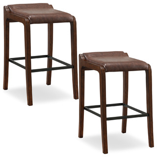 Sienna Wood Fastback Bar Height Stool Sable Faux Leather Seat Set of 2