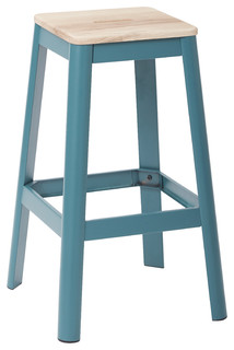 Hammond Metal Barstool With Lightwood Seat Frosted Teal