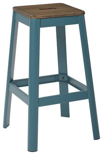 Hammond Metal Barstool With Darkwood Seat Frosted Teal