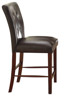 Homelegance Decatur Tufted Counter Height Chairs Dark Brown Set of 2