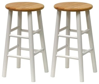 Beech and White Kitchen Stools Set of 2