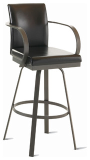 Amisco Lance Upholstered Back Swivel Stool with Arms 41436 30 quot Bar