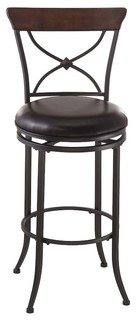 Cameron Swivel X Back Counter Stool Charcoal Gray Metal Chestnut Brown Wood