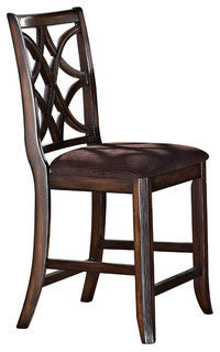 1PerfectChoice Keenan Counter Height Chairs Brown and Walnut Set of 2