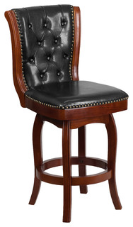 26 quot H Cherry Wood Counter Height Stool With Black Leather Swivel Seat
