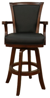 American Heritage Auburn Bar Stool in Suede with Black Leather