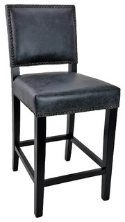 Top Grain Leather Counter Stools Set of 2 Antique Black