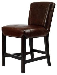 Safavieh Ken Beech Wood Leather 24 quot Counter Stool Brown