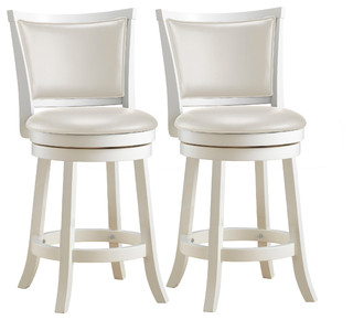 Woodgrove 38 quot White Wash Wood Barstool With Leatherette Seat Set of 2