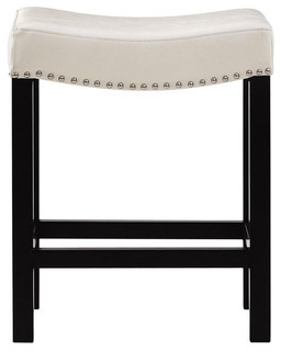 Leather Counter Stool Textured White