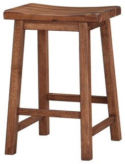 Wooden Saddle Counter Stools Set of 2