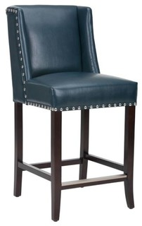 Wing Back Counter Stool Blue