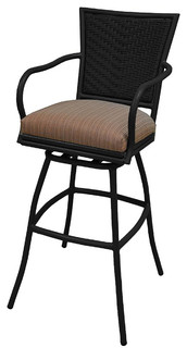 Erin Black Frame 35inch Extra Tall Terracota Outdoor Swivel Bar Stool
