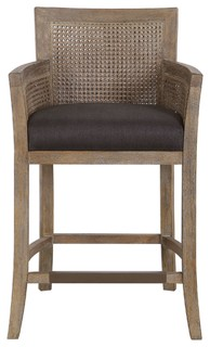 Uttermost 23466 Encore Transitional Dark Gray and Cane Counter Stool