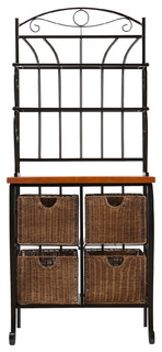 Iron Wicker Bakers Rack