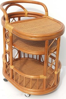 Trolly Serving Cart Bar Table Natural Rattan Wicker With Wheels Colonial