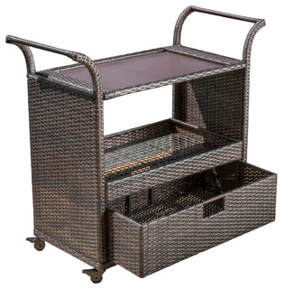 South Mission Multi Brown Wicker Indoor Bar Cart
