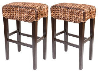 Bird Rock Seagrass Backless Barstools Set of 2 Bar Height