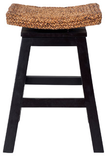 East At Main x27 s Oakley Black Wood and Water Hyacinth Counter Stool