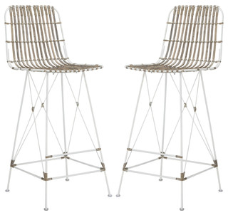 Minerva Wicker Bar Stool Set of 2 White White