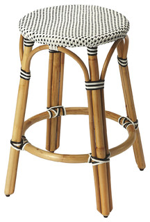 Tobias Black White Rattan Counter Stool Black