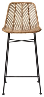 Natural Rattan and Black Metal Frame Bar Stool